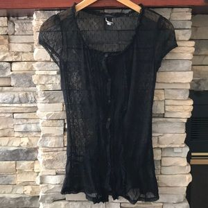 Express sheer button down blouse top sz small